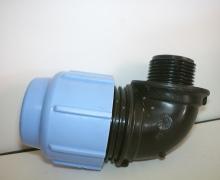 Gomito Maschio per tubo in Polietilene dal PN4 al PN16. Diametro da 16 a 110