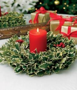 Centrotavola natalizio con pungitopo